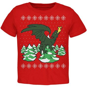 Ugly Christmas Sweater Dragon Winter Toddler T Shirt
