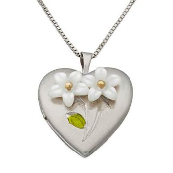 Sterling Silver, Mother of Pearl, and 14K Yellow Gold 18-Inch Chain Flower Heart Locket