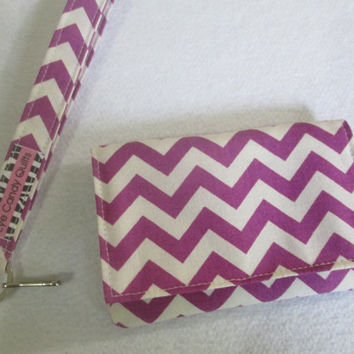 Purple Chevron Wallets for Women, Cute Wallets, Credit Card Wallet, Small Wallet, Fabric Wallet, Chevron Wallets