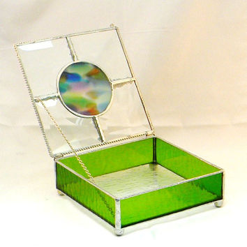 Stained Glass Keepsake Jewelry Box, Keepsake Box, Emerald Green, Lime Green, Gift for Women, Weddings or Home Decor