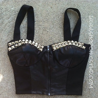 Studded Bustier Corset SMALL Faux Leather