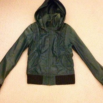 Mike & Chris LAMBSKIN LEATHER Hooded Jacket motorcycle bomber Teal VEST SMALL S