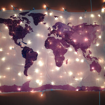 World Map Wall Tapestry in Navy