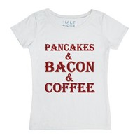 Pancakes And Bacon And Coffee-Female White T-Shirt