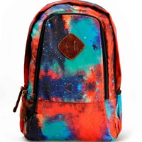 """ZLYC Fashion Unisex Universe Neon Galaxy Pattern Print Casual School Travel 13"""" Laptop Backpack Daypack Tablet Bags Student Schoolbag Orange"""