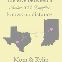 Mother's Day Personalized Print- Mother's Day print, custom states map, personalized map, long distance art, parents custom gift