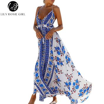 Lily Rosie Girl Off Shoulder Boho Blue Floral Print Dress Women Deep V Neck Sexy Backless Summer Beach Maxi Long Dresses Vestido