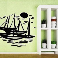 Wall Vinyl Sticker Decal Sea Gulls Sun Yacht Waterway Fishing Boat Unique Gift (n053)