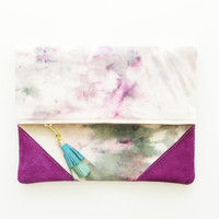 CHANCE / Dyed cotton & Leather folded clutch - Ready to ship