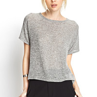 FOREVER 21 Boxy Marled Top Charcoal/Cream