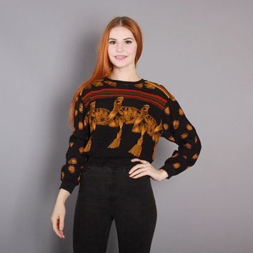 80s BAROQUE Print  Cropped TOP / 1980s Greco-Roman Tassel Print Pullover Blouse