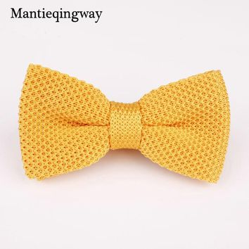 Mantieqingway Fashion Knit Bowtie Mens for Wedding Texudo Knitted Bow Ties Gravatas Slim Vestidos Knitting Bow Tie Bowknots