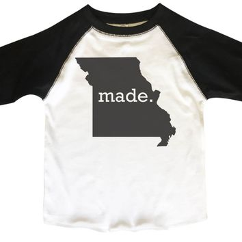 Born In Missouri BOYS OR GIRLS BASEBALL 3/4 SLEEVE RAGLAN - VERY SOFT TRENDY SHIRT B276