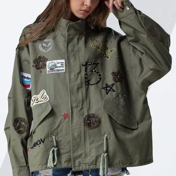 CHICEVER Embroidery Diamonds Lace Up Women Jacket Female Coat 2018 Spring Vintage Loose Big Size Coats Armygreen Overcoat Casual