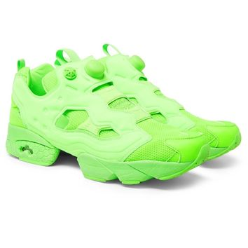 Reebok Neon Green Instapump Fury Sneakers by Vetements