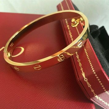 New Authentic@@ Cartier 18K Yellow Gold LOVE Bangle Bracelet Size 19 Authentic