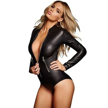 2016 Women Black PVC Leather Long Sleeve Bodysuit Pole Dance Costume Hot Sexy Club One Piece Overall Jumpsuit With Front Zipper