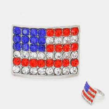 ".60"" american flag patriotic crystal adjustable ring 4th of july"