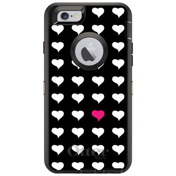 """Custom OtterBox Defender Case for Apple IPhone 6 4.7"""" -  Name Any Color Personalized Monogram - Pink White Black Repeating Hearts"""