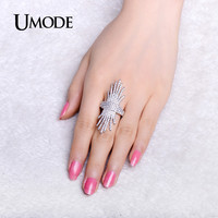 UMODE Party Sparkling Micro Cubic Zirconia Pave Unique Rings White Gold Color Jewelry for Women Bijoux Bagues Femme UR0305B
