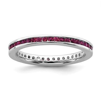 Sterling Silver Stackable Expressions Channel Set Created Ruby Eternity Ring