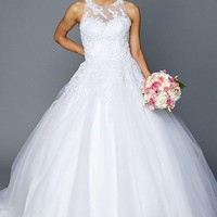 affordable ball gown wedding dress with princess train