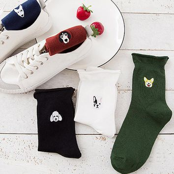 Embroidery Candy Color Dog Socks Funny Crazy Cool Novelty Cute Fun Funky Colorful