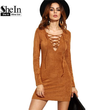SheIn Long Sleeve Camel Faux Suede Lace Up V Neck Mini
