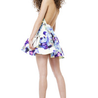 Let Loose Blue Yellow Floral Print Skater Dress