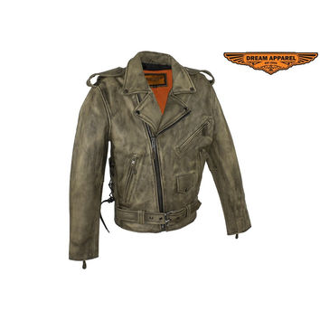 Dealer Leather Premium Mens Distressed Brown Leather Motorcycle Jacket With Side Laces