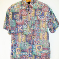 Vintage 1990s Graphic Short Sleeve Button Down Shirt
