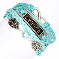 Simply Reese Blue & Silvertone Owls Braided Bracelet | zulily