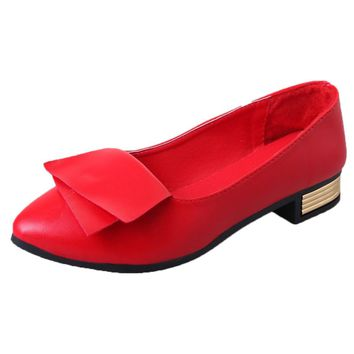 2018 Women Fashion Spring Ladies Pointed Toe Flat Ballet Shallow Shoes Loafers Slip On Casual Shoes for Office Lady