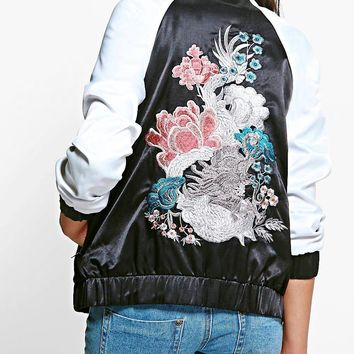 Leah Dragon Embroidered Bomber