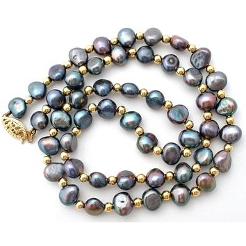 Freshwater Pearl & 14K Gold Bead Necklace PJS