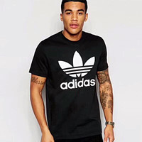 ADIDAS Classic Tide Brand Fashion Men and Women Summer Casual Short Sleeve Top F/A/C black