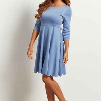 Blue-Solid-Scalloped-Hemline-Dress