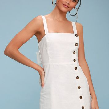 Louetta White Button-Down Mini Dress