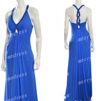 2014 Beads Royal Blue V-Neck Halter Backless Long Celebrity Dress, Floor length Chiffon Formal Evening Party Prom Dress New Homecoming Dress