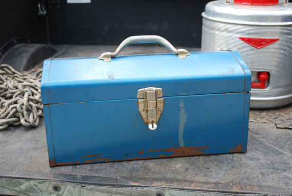 Vintage Rusty and Blue Metal Tool Box with by AGlimpseFromthePast