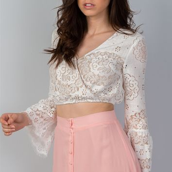 Womens boho lace long bell sleeve crop top