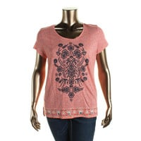 Lucky Brand Womens Modal Blend Graphic Pullover Top