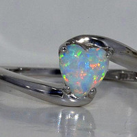 Beautiful Opal Heart Ring White Gold Quality