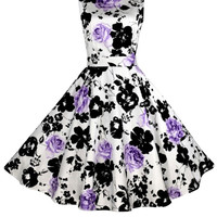Purple Floral Sleeveless Sheath Tent Mini Dress
