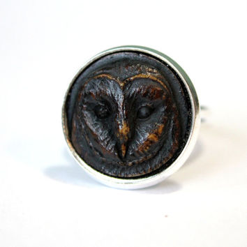 Barn Owl Silver Ring  Antique Ivory Finish by mrd74 on Etsy