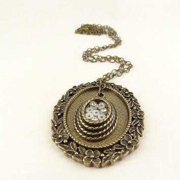 Antique Brass Toned Beautiful Detailed Pendant by toppytoppy