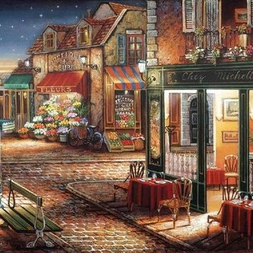 Needlework,Romantic town flower coffee shop 14CT Unprinted Embroidery,DIY DMC Cross stitch kit,Art Pattern Cross-Stitching Decor