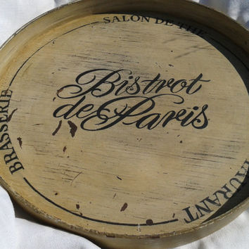 PROMO Vintage French Bistro de Paris Wooden Tray - Round White Painted - French scriptures Bistrot de Paris, Restaurant, Brasserie, Salon de