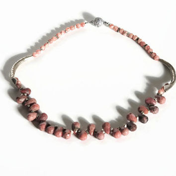 Pink necklace, handmade beaded semi precious gemstone choker necklace of faceted rhodocrosite, silver,  with a magnetic clasp.
