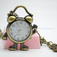 Mr Alarm Clock pocket watch,antique brass Cute alarm clock and owl pendant necklace NWCK01